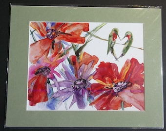 Heart Humming Birds with Poppies, 11x14 matted print by June Jurcak