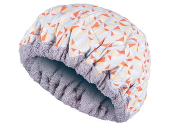 FOR KIDS! Deep Conditioning Heat Cap - GEOMETRIC Reversible Little Hot Head