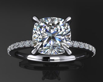 shay ring - 1.5 carat cushion cut Forever One moissanite engagement ring
