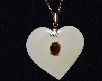 Vintage,Natural Bone Heart & Tigereye Oval Cabachon Pendant Necklace (1050002)