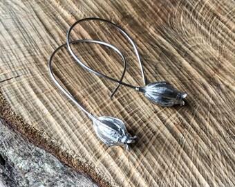 Sterling Silver seed pod drop earrings, large pod earrings, flower earrings, botanical earrings, handmade earrings