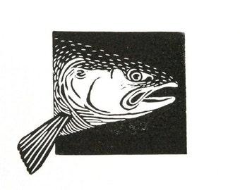 Linocut animals, salmon, zalm, hand printed wall art, matted, ready to frame