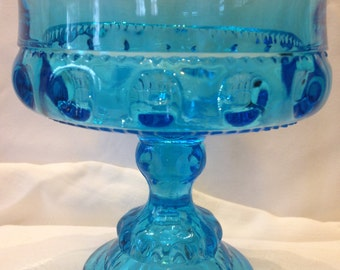 Indiana Carnival Glass, King's Crown Compote in Colonial Blue