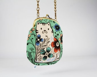 Metal frame purse with strap - Pennie in mint - Bag smile / Japanese fabric / Wattsalot / Cotton and Steel / Cat