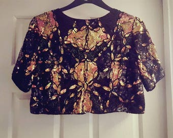 Cropped sequin vintage jacket size 10