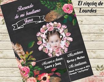 Chalkboard Floral Baptism Memory card