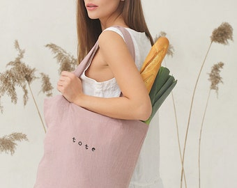 Stonewashed linen tote bag. 6 colours available. Flax shopping bag. Grocery bag.