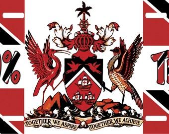 Trinidad & Tobago License Plate 100% Trini