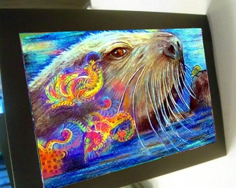 greeting card print of originlal drawing otter colorful zentangle