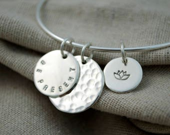 Bangle Adjustable Charm Bracelet - Sterling Silver - Inspirational - Thought Blossoms