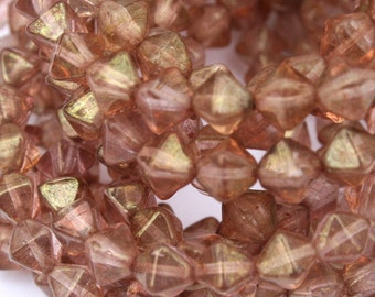 6 mm Blush Pink Bicone Luster Authentic Czech Beads