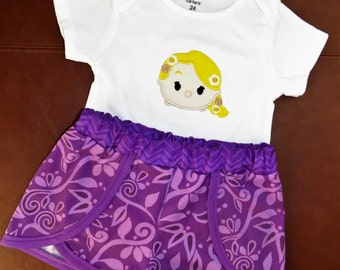 Rapunzel outfit, Tangled, Disney Princess, Tsum Tsum Girls Short Set