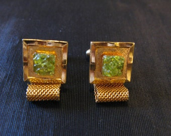 Green cufflinks, mesh vintage cuff links, green olivine, Hawaiian Diamond Hawaiite 60s