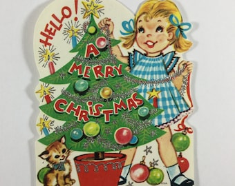Pigtail Little Girl & Kitten Decorating Xmas Tree Vintage 1950s Unused Glitter Christmas Greeting Card Ornament