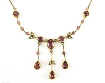 Antique Tourmaline & Split Pearl Floral Design Necklace, 9 Carat Gold with Beaded Detailing. Edwardian Circa 1900s.
