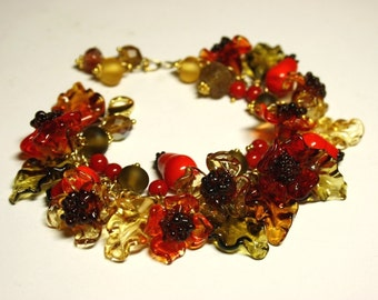 Handmade lampwork bracelet, glass bracelet, flower bracelet, autumn bracelet, artisan glass bracelet