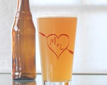 True love, custom screen printed glassware, pint glasses