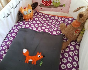 Fox, cuddly blanket, picnic blanket, Sofadecke, Blanket, fox Blanket, fox, Grey, mottled, blanket with fox, Fleece, ceiling, children's blanket