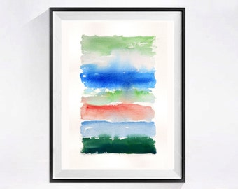 Striped Abstract Watercolor Print Abstract art painting Modern art Fine art abstract wall decor abstract wall art WatercolorByMuren N