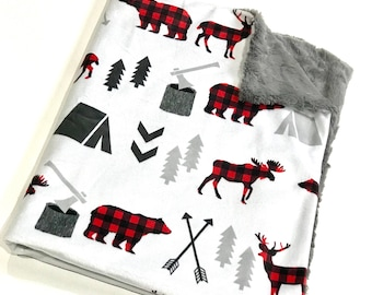 Buffalo Plaid Woodland Baby Boy Blanket, Grey and Red Deer Baby Bedding, Baby Boy MINKY Blanket, Ready to Ship Baby Blanket, Baby Shower