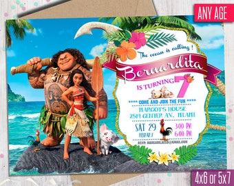 Moana Invitation Moana Party Girl Moana Invitation Moana