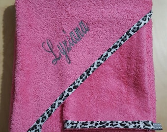 Pink floral leopard personalized bath Cape