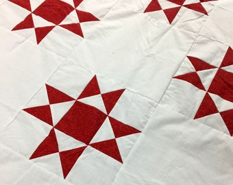 Patchwork Red and White Ohio Star QUILT TOP Traditional Look