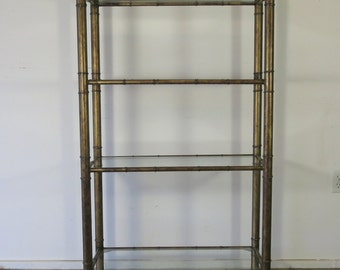 Vintage Faux Bamboo Metal Etagere Shelving Unit Nice Design