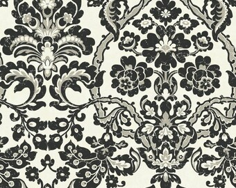 TH6368 Black Cream Damask with Thread Wallpaper