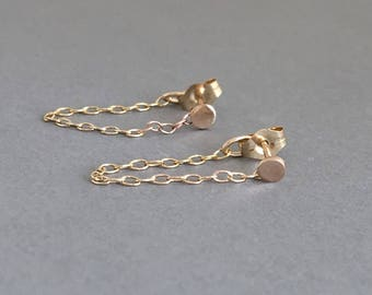 Small Dot With Chain Post Earrings Gold Fill, Rose Gold,  or Sterling Silver