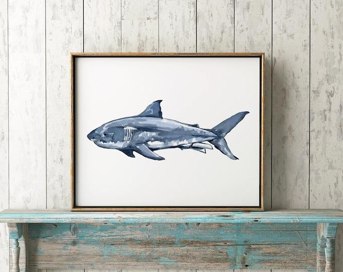 Great White Shark No.1112 Print, Shark, Nautical Art Print, Great White Shark Watercolor Art Decor, Great White Shark Print, Marine Biology