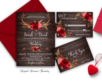 Rustic Fall Wedding Invitation Printable Roses Wedding Invitation Boho Wedding Invitation Suite Autumn Romantic Red Roses Wedding Invites