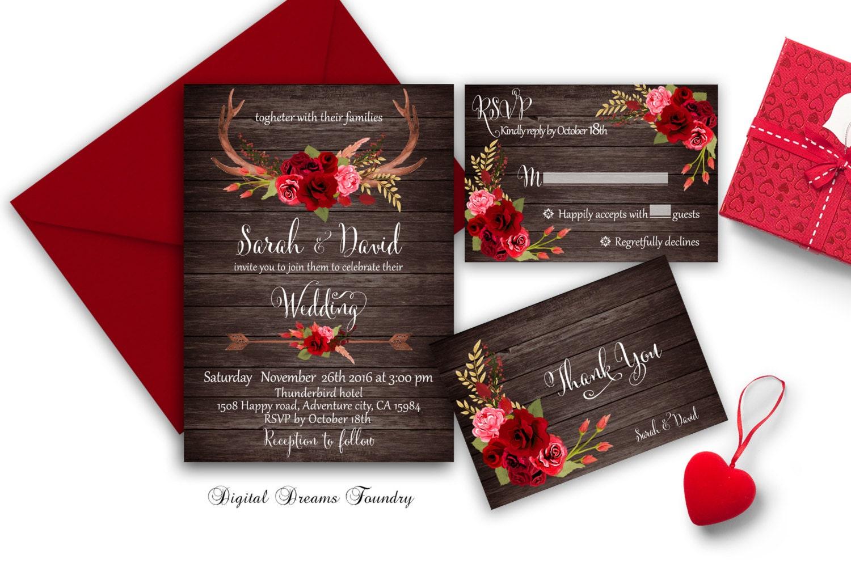 Rustic Fall Wedding Invitation Printable Roses Wedding