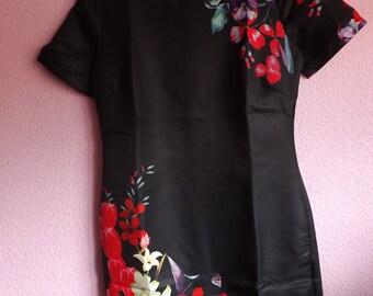 DELICATE VINTAGE DRESS , Black Dress, Asian Dress, Oriental Dress, Silk Dress, Floral Dress, Wedding Dress, Soft Dress, Red, Floral