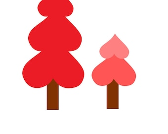 valentines day, heart trees, forrest, love, trees, hearts, svg, png, dxf