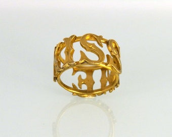 Kiss Me Ring Gold Plated Silver Letter Wide Band Artisan Jewelry