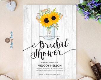 View bridal shower invites by onlybyinvite on etsy mason jar bridal shower invitations printed sunflower wedding shower invitations rustic bridal shower cards filmwisefo Images