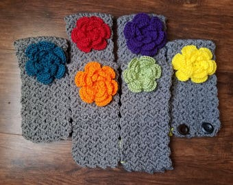Crochet Earwarmer with Button Close and Flower Embellishment