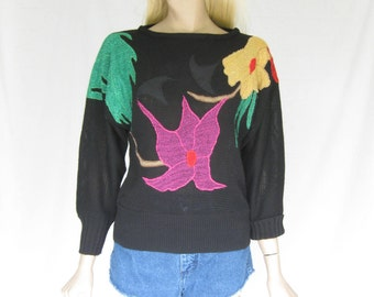 Vintage 80s  Abstract Applique Sweater