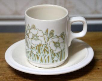 Vintage Retro 1970's Hornsea Fleur Demitasse Expresso cup and saucer,