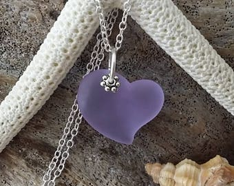 "Handmade in Hawaii, ""Magical Color Changing"" Purple heart sea glass necklace ,Beach glass necklace"