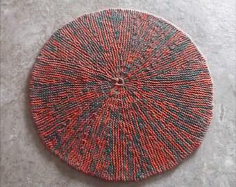 """Buy Bonnie's  - Orange/Green Cotton Thread Round Hand Knit 8.5"""" Pitcher Mat/Coaster  @ cyicrochet"""