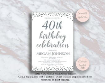 Editable Birthday Party Invitation, Adult Birthday Party Invitation Template, 21th 30th 40th 50th 60th 70th 80th Silver Birthday invite s5bd