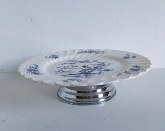 Vintage Decorative Myott Blue and White China Plate Cake Stand
