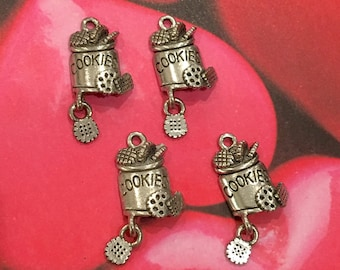 Cookie Jar Charms -4 pieces-(Antique Pewter Silver Finish)