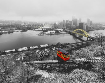 Selective Color of the Duquesne Incline and Bridges of Pittsburgh in the snow - Various Prints