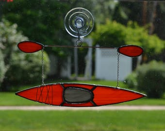 kayak #5 Stained glass suncatcher hanging from silver steel chain