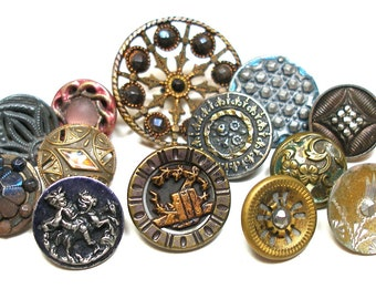 Antique BUTTONS, 13 Victorian metal shabby chic picture buttons & cut steel.