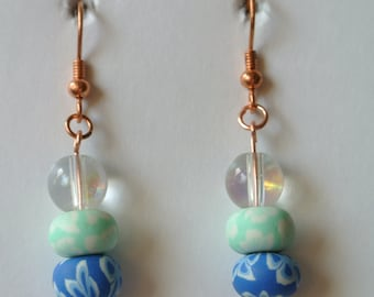 Rose Gold Fishhook with Clear, Green and Blue Beads