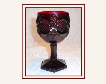 AVON Ruby Red Goblet, Vintage Avon Cape Cod 1876, Wine Glass, Water Goblet, 1970s Avon Glass, Dark Red Glass, Large Cape Cod Goblet.
